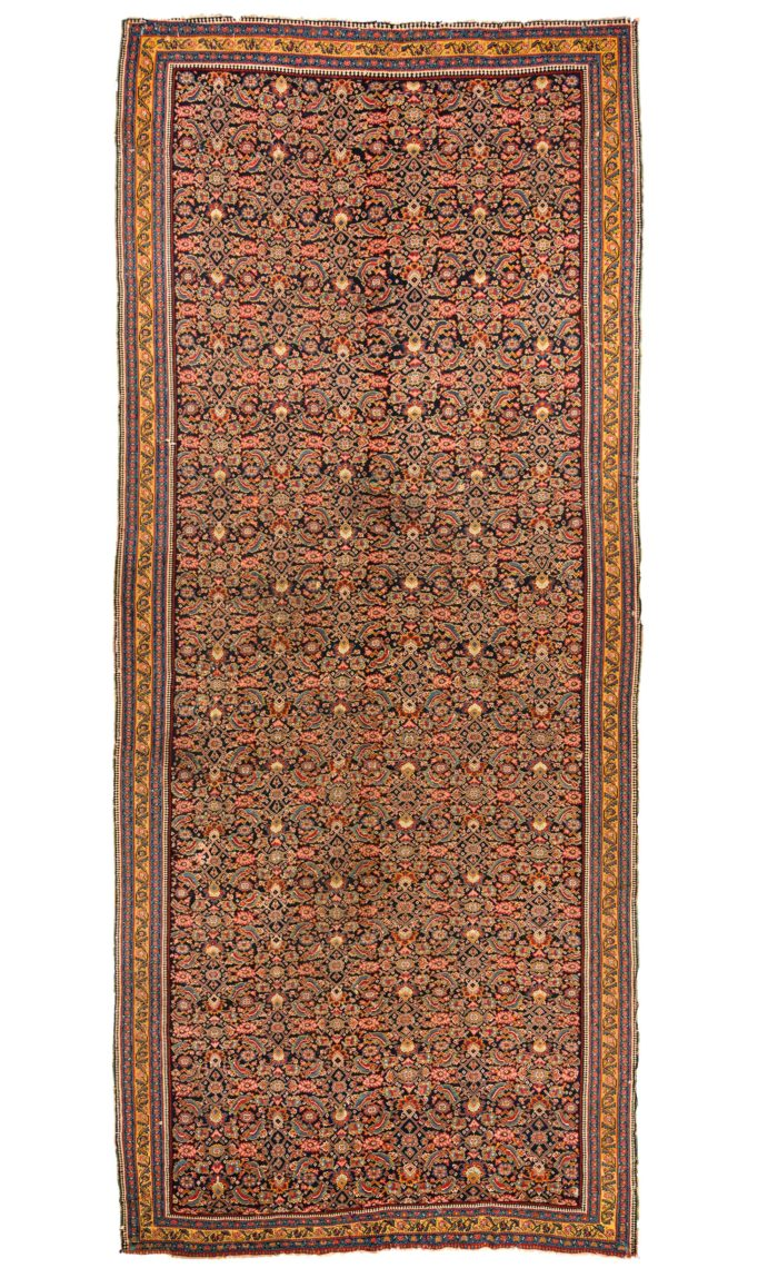 "Antique Persian Senneh Kilim 7'4""×17'4"""