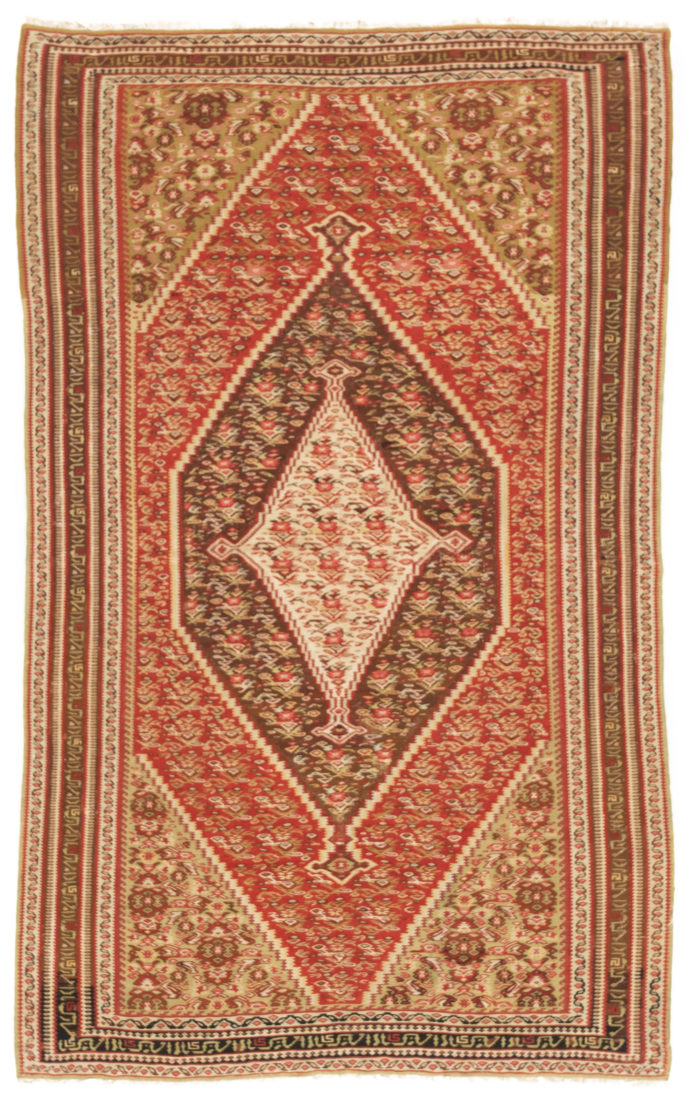 "Antique Persian Senneh Kilim 4'0""×6'6"""