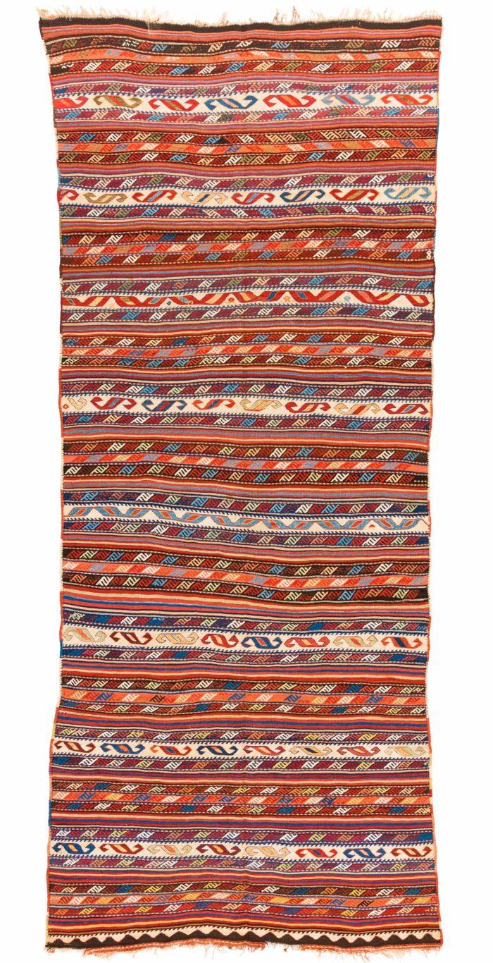 "Antique Persian Shahsavan Kilim 4'8""×11'1"""
