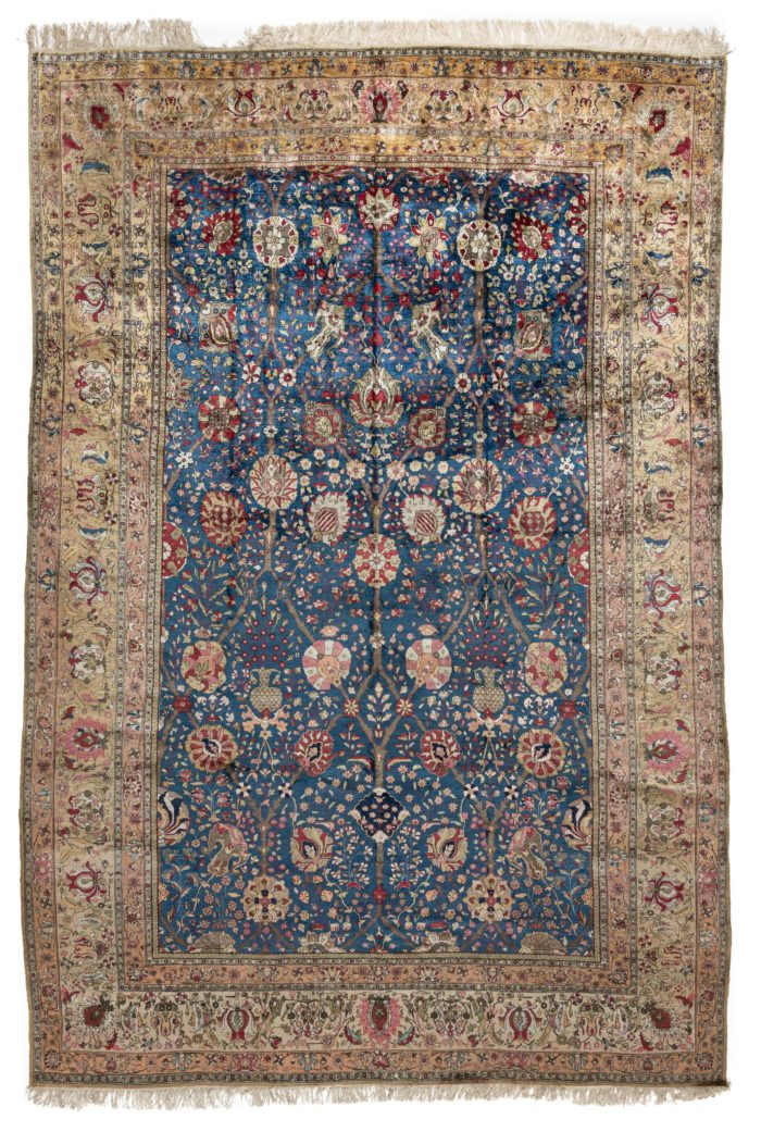 "Antique Persian Silk Kashan Hand-Knotted Rug 7'2""×10'10"""