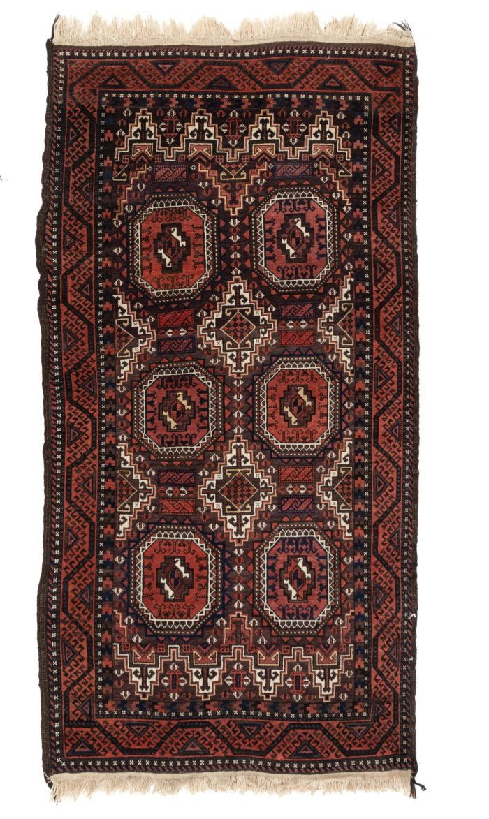 """Antique Persian Tribal Belouchi Area Rug 3'5""""×6'6"""""""
