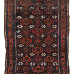 "Antique Persian Tribal Belouchi Rug with Repeated Floral Pattern 3'2""×4'3"""