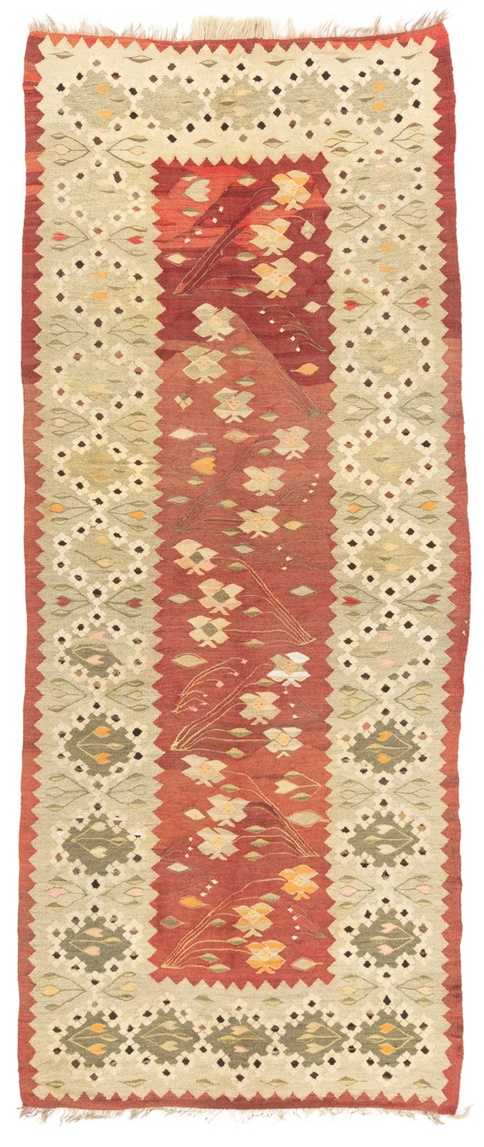"Antique Romanian Kilim Runner 3'10""×9'3"""