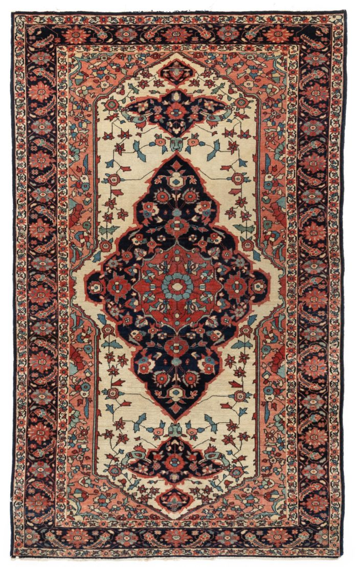 "Antique Sarouk Feraghan Rug 4'1""×6'10"""
