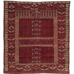 "Antique Saryk Rug 4'2""×4'4"""