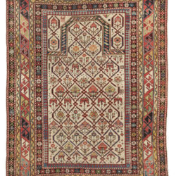 "Antique Shirvan Caucasus Tribal Prayer Rug 3'7""×4'9"""