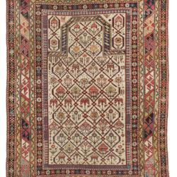"""Antique Shirvan Caucasus Tribal Prayer Rug 3'7""""×4'9"""""""