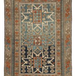 """Antique Shirvan Caucasus Tribal Rug 4'10""""×5'4"""""""