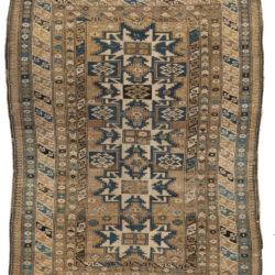 """Antique Shirvan Caucasus Tribal Rug 4'3""""×5'4"""""""