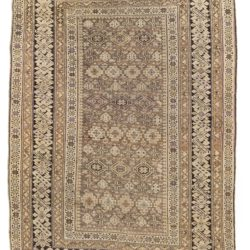 "Antique Shirvan Caucasus Tribal Rug 4'2""×5'11"""