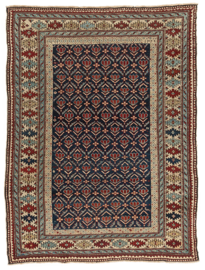 "Antique Shirvan Caucasus Tribal Rug 3'9""×4'11"""