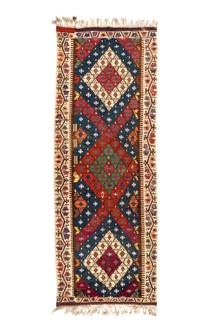 "Antique Turkish Adana Kilim 5'2""×14'1"""