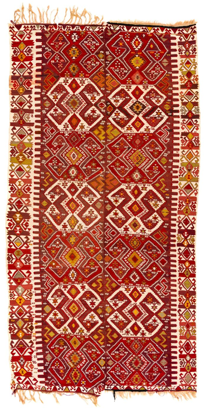"Antique Turkish Kilim 6'4""×12'0"""
