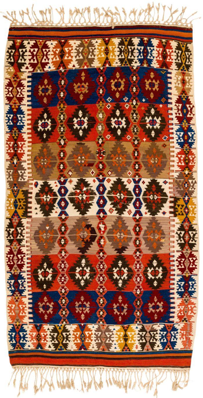 """Antique Turkish Kilim 4'7""""×8'1"""""""