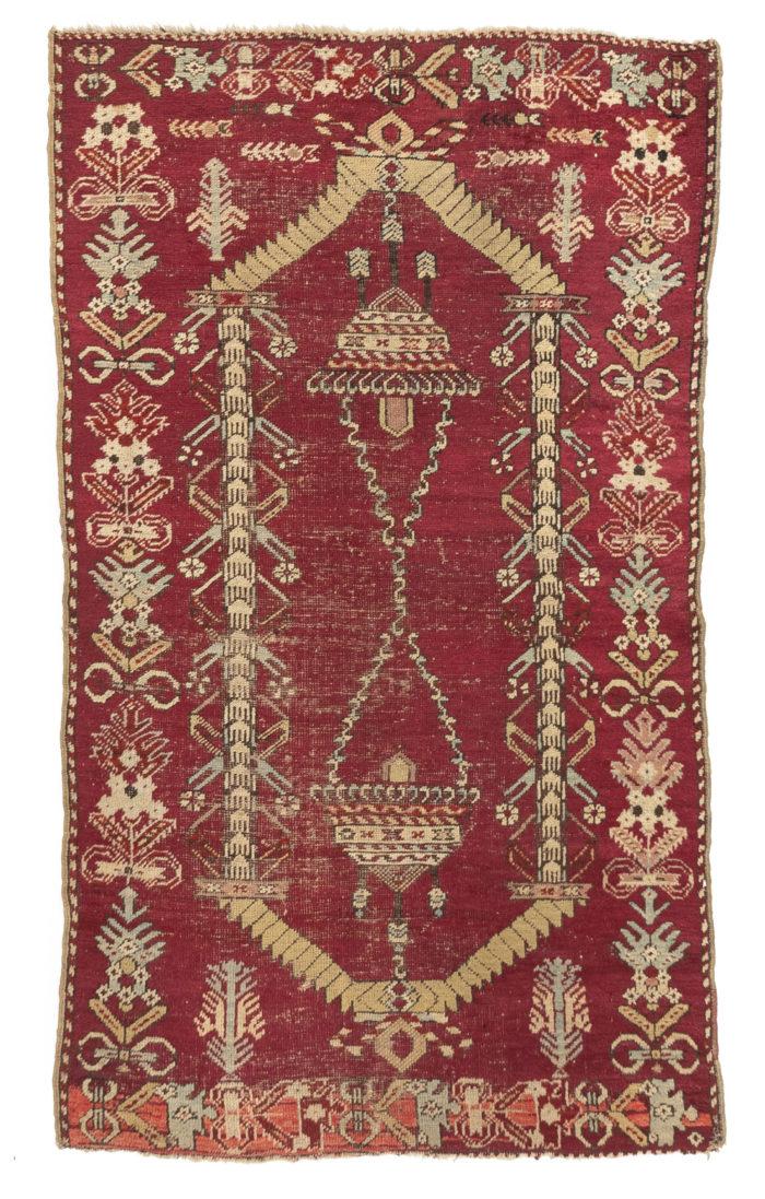 """Antique Turkish Prayer Rug 3'2""""×5'7"""""""