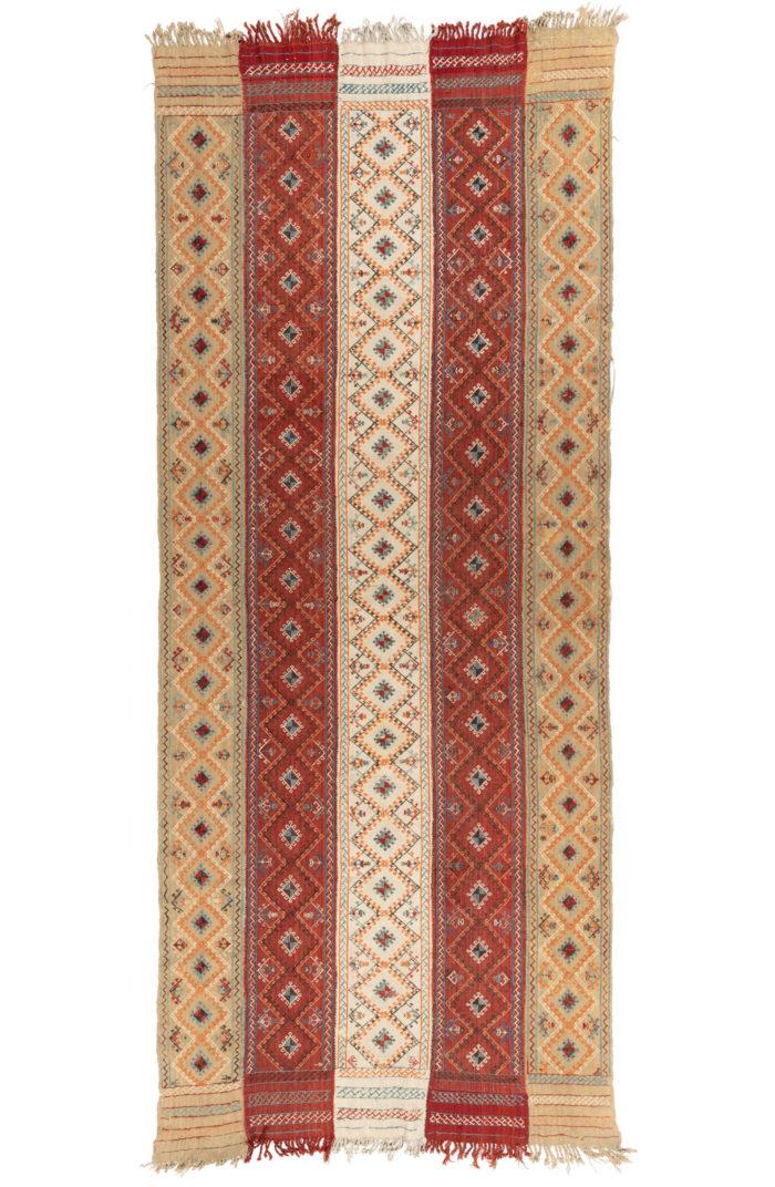"""Antique Turkish Strip Cover Textile 5'0""""×12'6"""""""