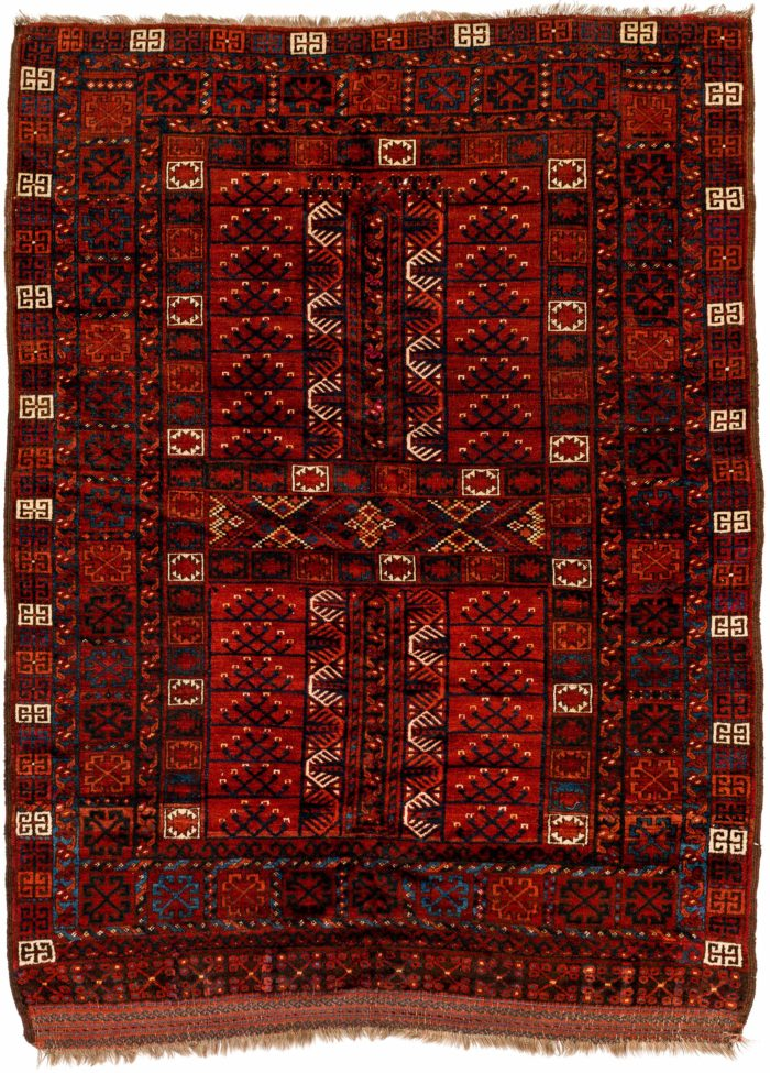 "Antique Turkmen Ersari Engsi 4'10""×6'6"""