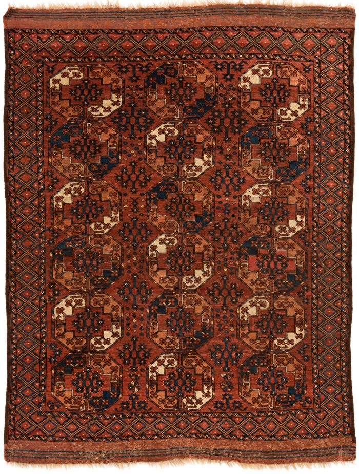 "Antique Turkmen Ersari Main Carpet 6'5""×8'5"""