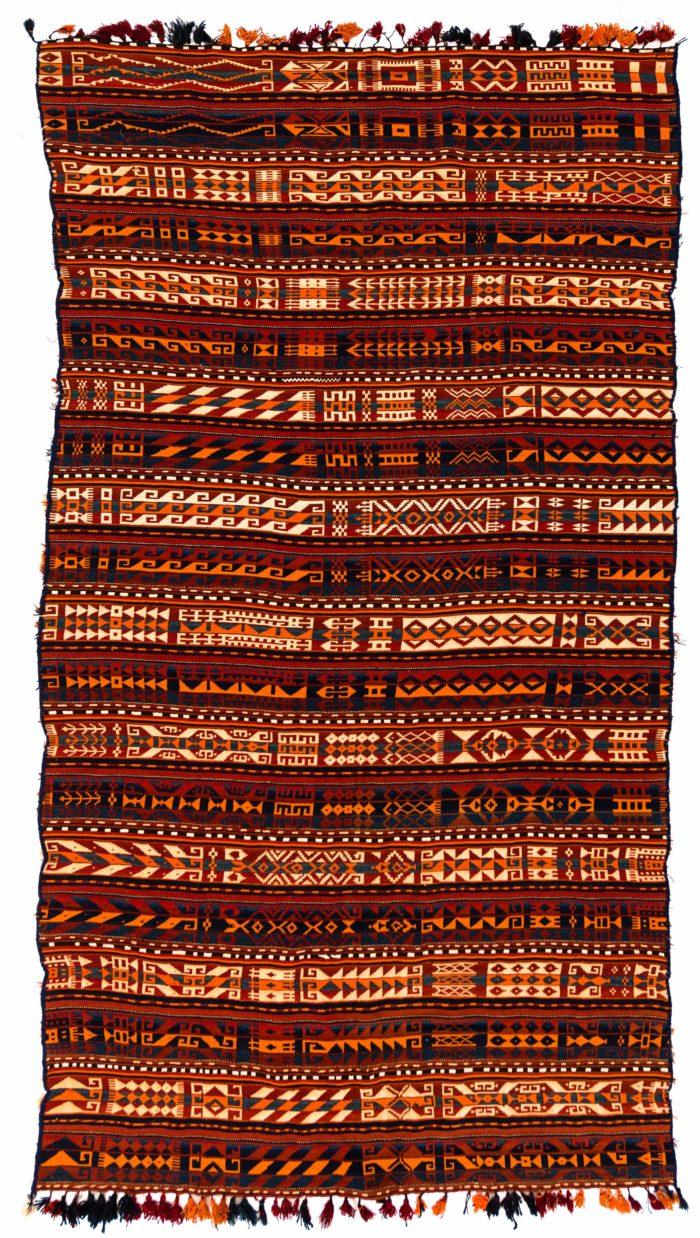 """Antique Uzbek Afghan Kilim 5'2""""×9'5"""""""
