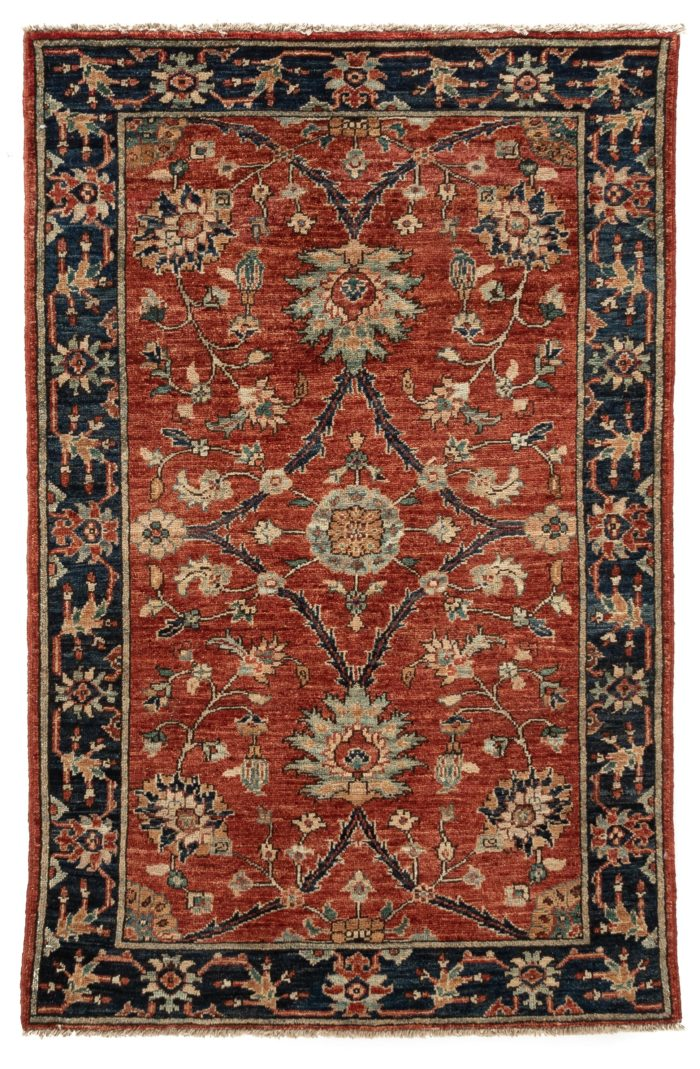 """New Afghan Hand-Knotted Wool Rug 3'0""""×4'8"""""""