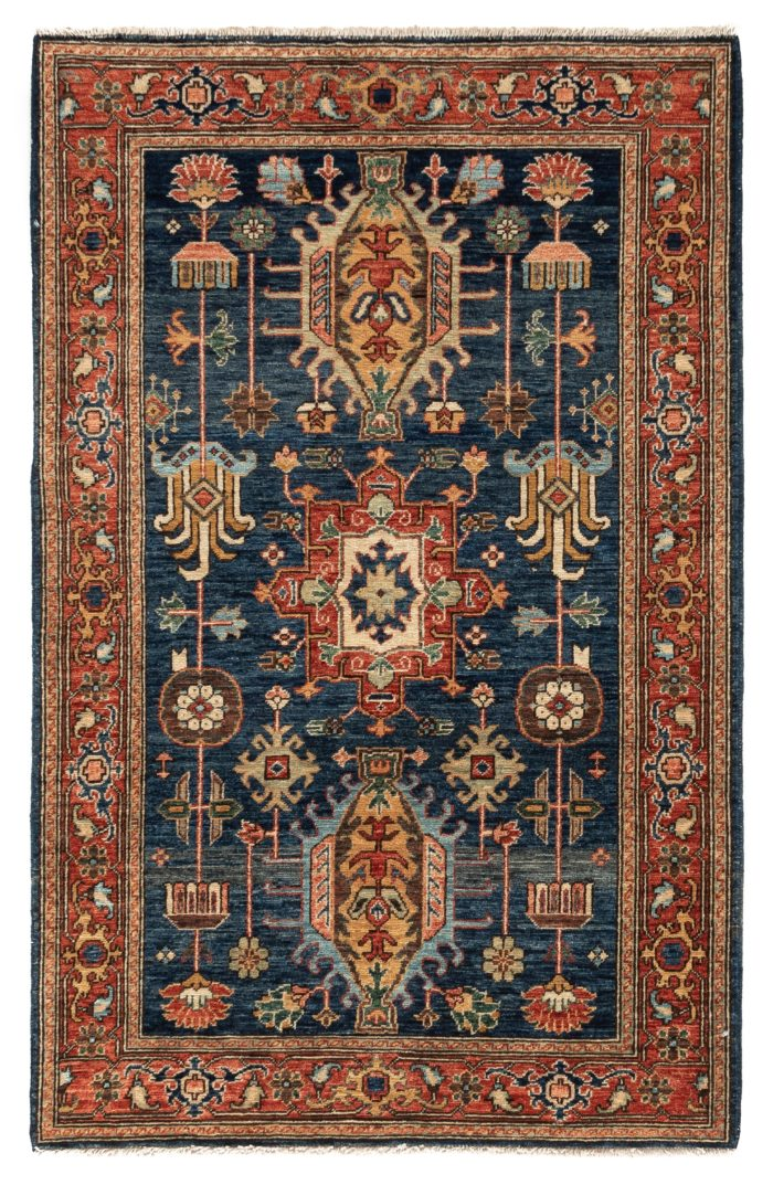 "New Afghan Hand-Knotted Wool Rug with Navy Field 3'1""×4'10"""