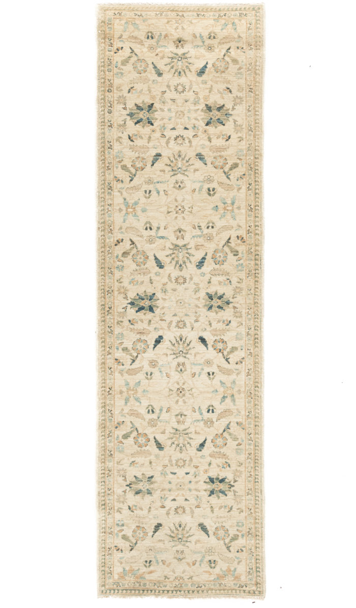 """New Afghani Ivory Floral Field Runner 2'10""""×9'9"""""""