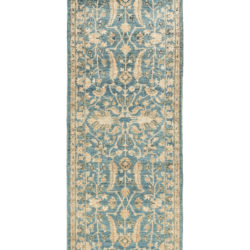 "New Afghani Light Blue Floral Field Runner 2'7""×11'8"""