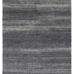 "New Black and Ivory Hand-Knotted Transitional Rug 6'1""×9'7"""