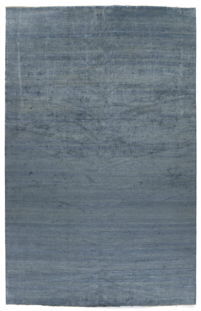 "New Blue and Gray Hand-Knotted Wool Rug 12'10""×20'3"""