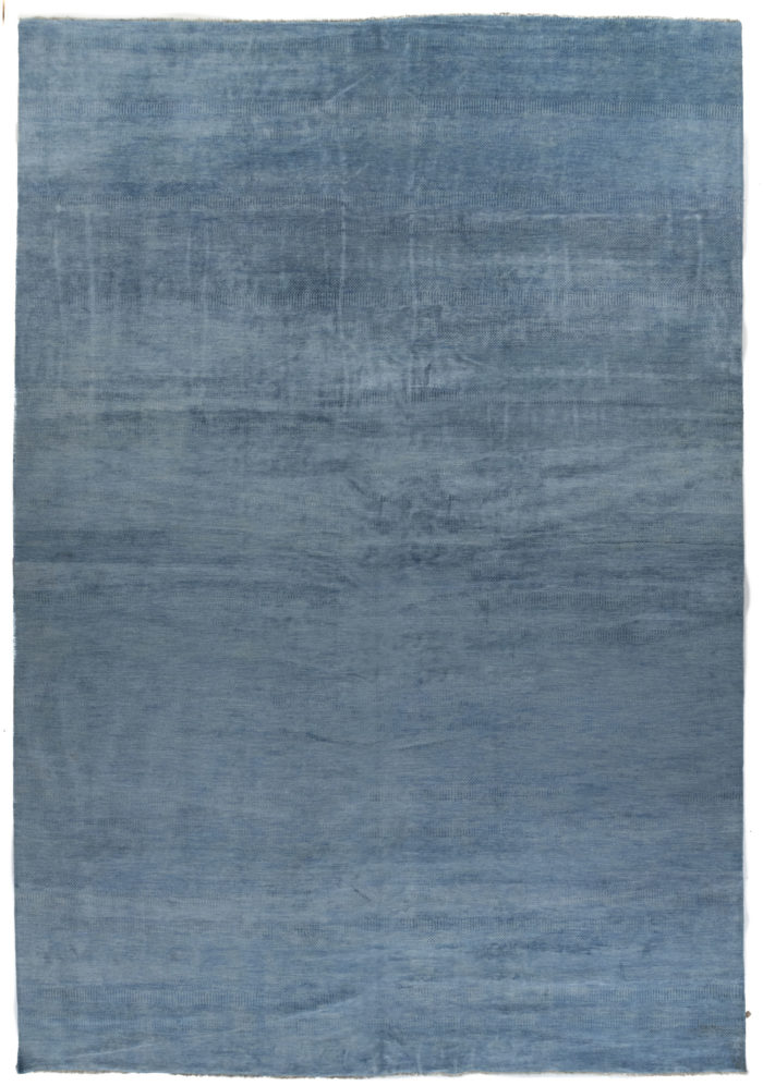 """New Blue and Ivory Hand-Knotted Wool Rug 14'0""""×20'3"""""""