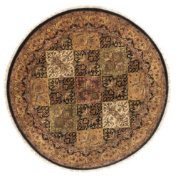 "New India Qum Round Geometric Field Rug  5'3""×5'3"""