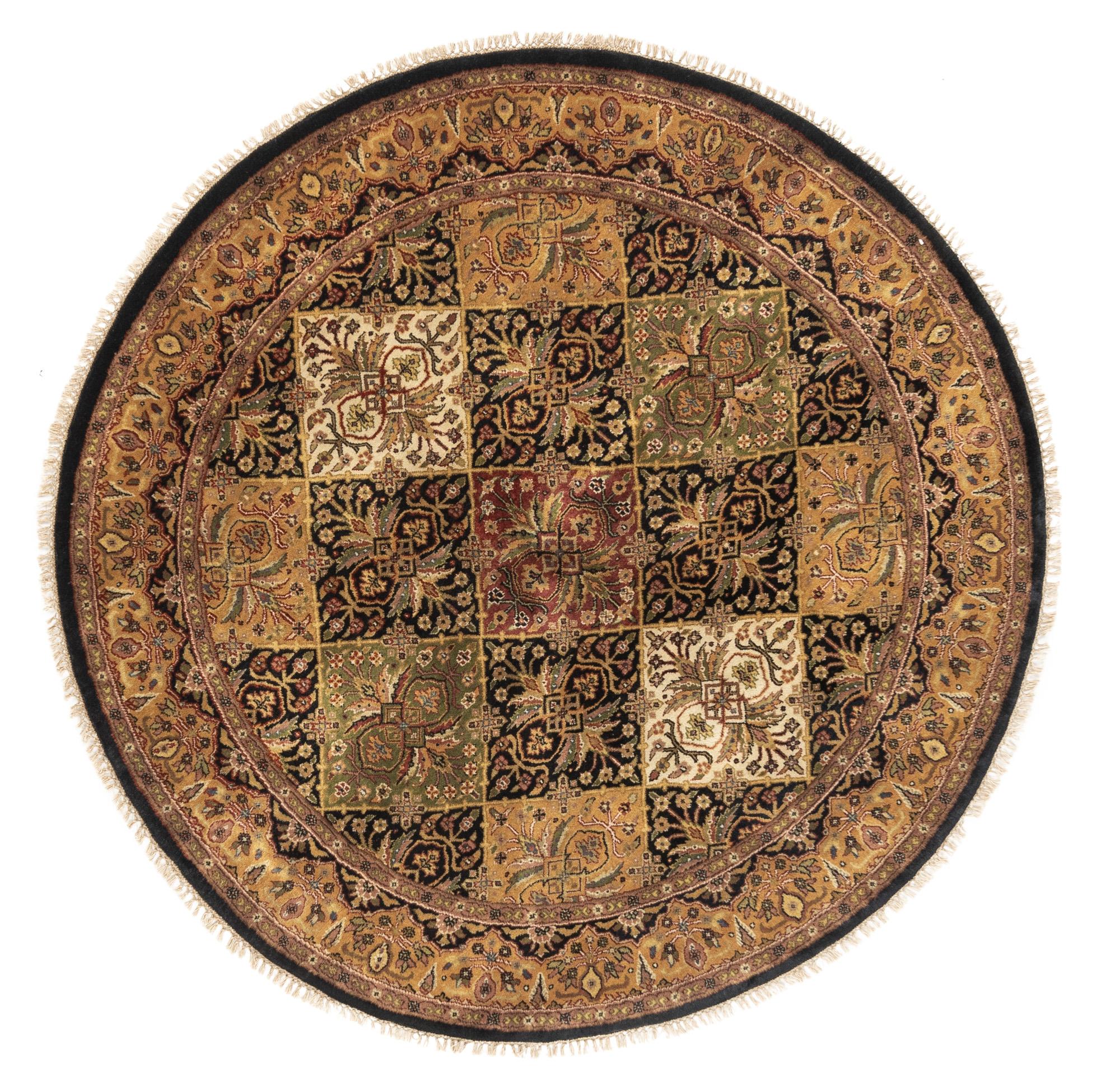 "New India Qum Round Geometric Field Rug 5'3""×5'3"""