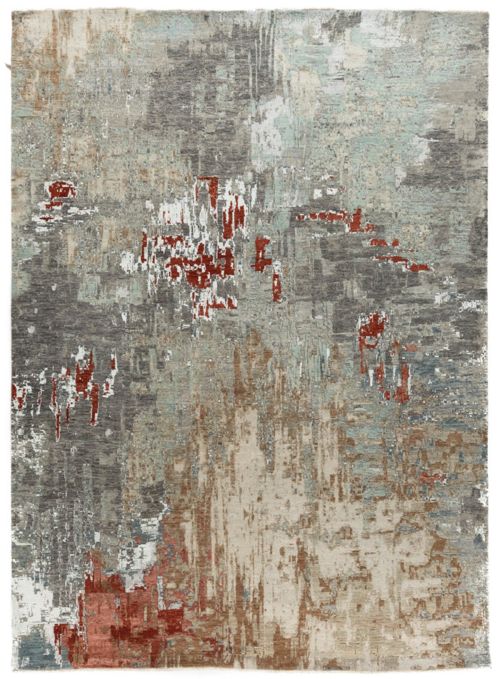 "New Indo Ikat Abstract Contemporary Field Rug 9'1""×12'4"""