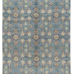 "New Indo Ikat Blue Floral Field Rug 8'0""×10'4"""