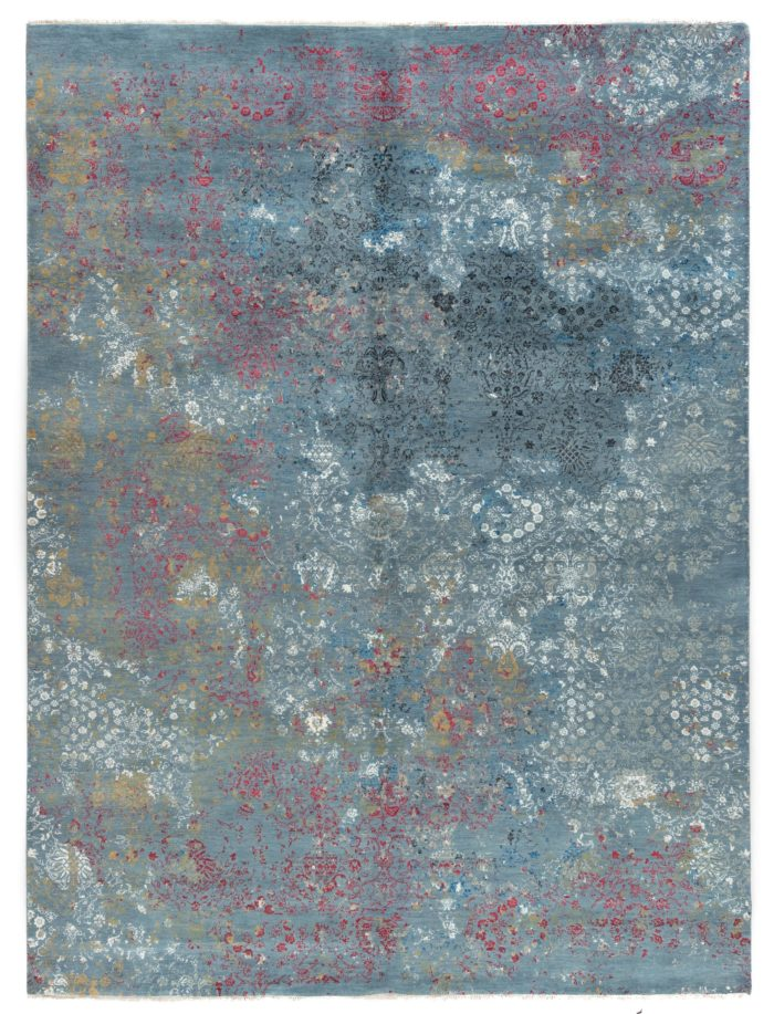 "New Indo Ikat Contemporary Floral Field Rug 9'2""×12'3"""