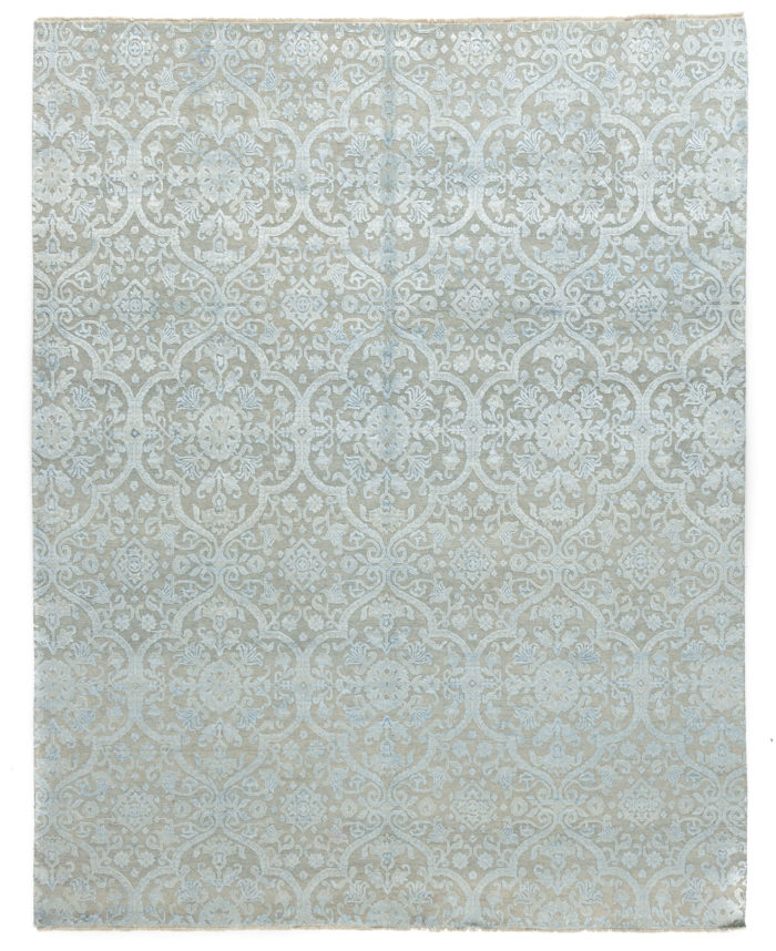 "New Indo Ikat Light Blue Floral Field Rug 8'0""×10'1"""