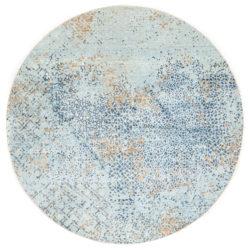 "New Indo Ikats Round Geometric Field Rug 8'1""×8'1"""
