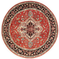 "New Indo Serapi Round Central Medallion Tribal Rug 8'0""×8'0"""