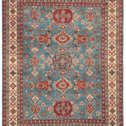 "New Kazak Design Wool Hand-Knotted Rug with Light Blue Field 8'1""×10'0"""