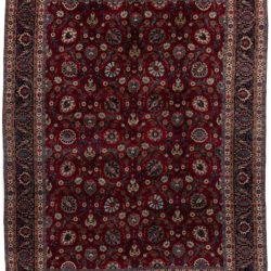 "New Mashad Persian Rug Deep Burgundy and Black Wool 11'6""×15'5"""