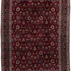 "New Mashad Persian Rug Deep Burgundy and Black Wool 11'6""×15'5"""
