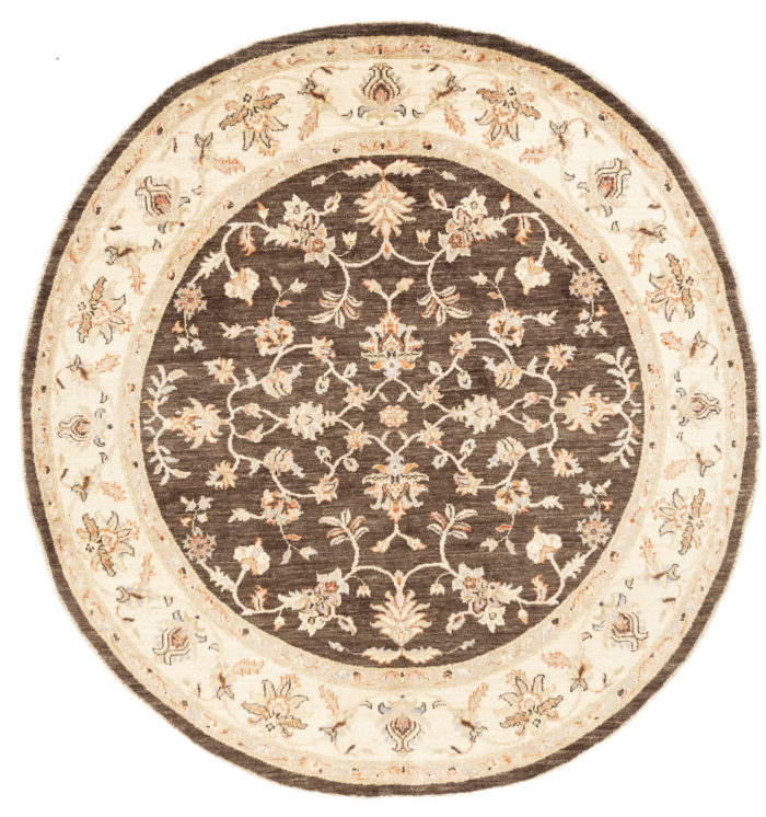 "New Pak Oushak Round Floral Field Rug 7'8""×8'1"""
