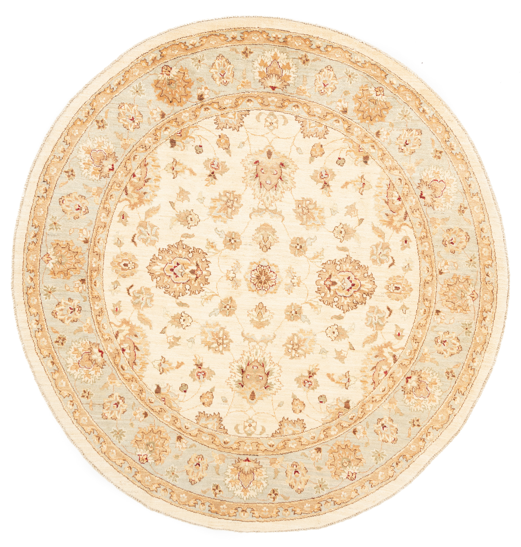 "New Pak Oushak Round Floral Field Rug 8'1""×8'1"""
