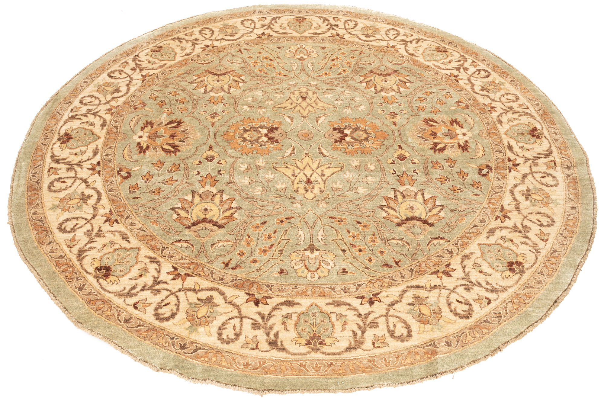 "New Pak Oushak Round Floral Field Rug 9'2""×9'2"""
