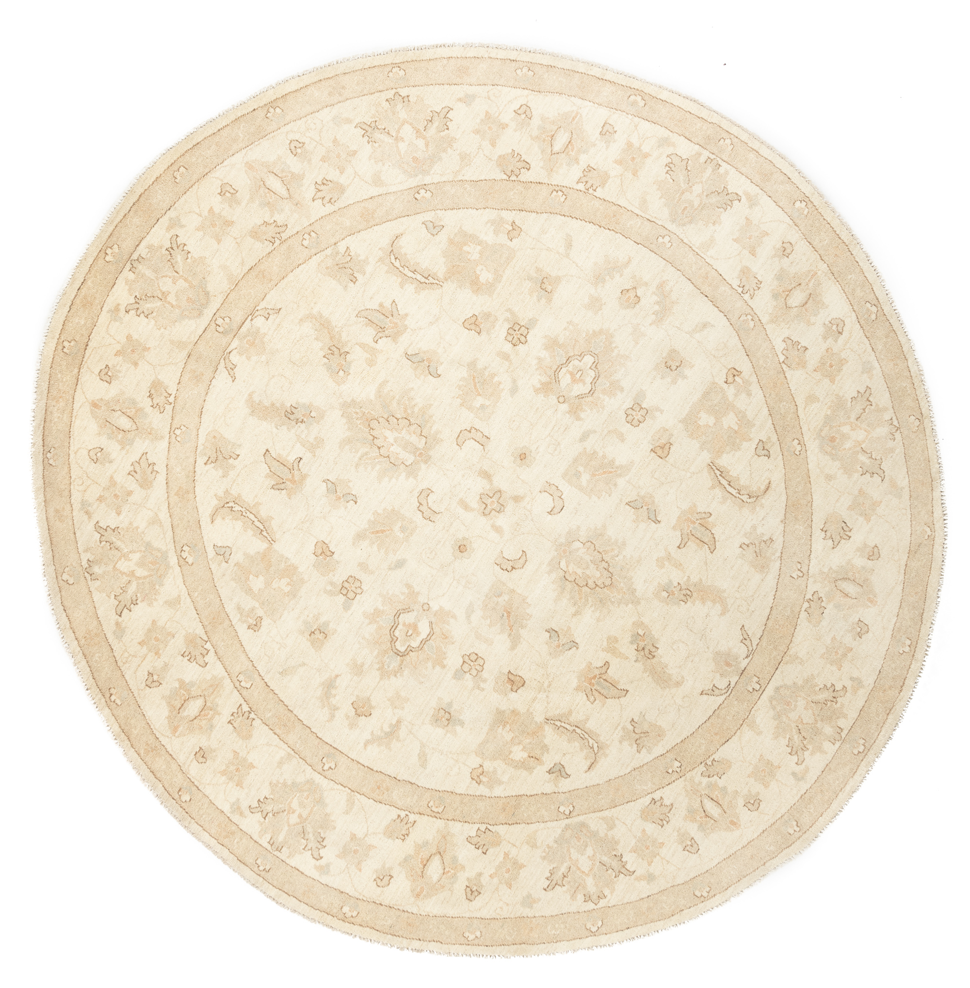 "New Pak Oushak Round Floral Field Rug 8'3""×8'7"""