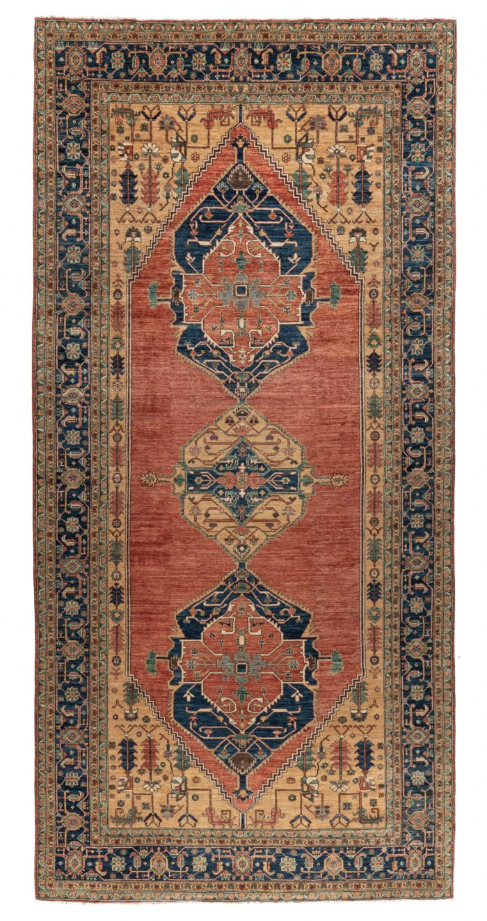"New Pak Serapi Central Medallion Geometric Rug 8'1""×16'7"""