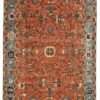 """New Pak Serapi Rug with Muted Coral and Light Blue Colors 6'1""""×8'10"""""""