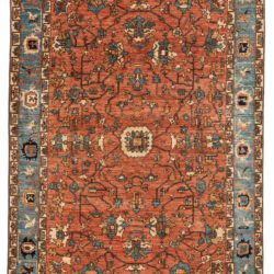 "New Pak Serapi Rug with Muted Coral and Light Blue Colors 6'1""×8'10"""