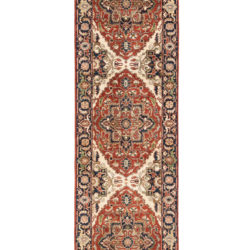 "New Pak Serapi Runner with Navy, Rust and Cream Colored Wool 3'2""×11'10"""