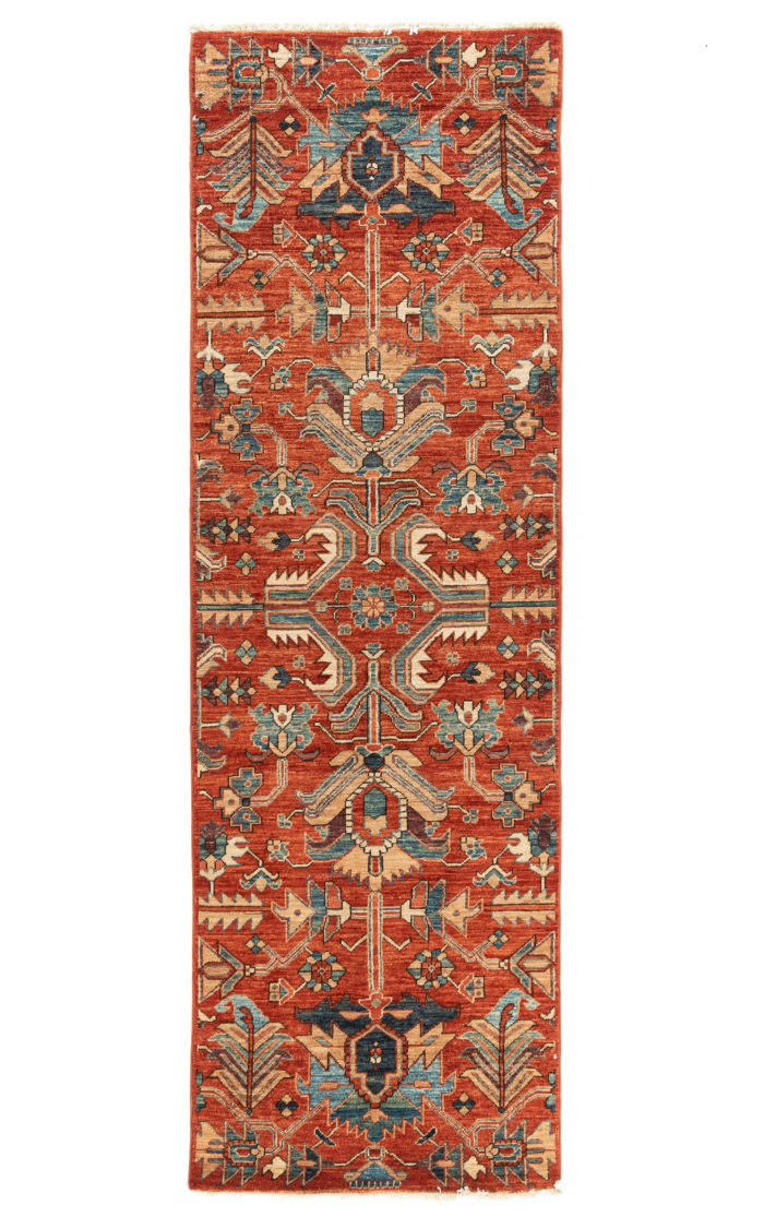 "New Pak Shirvan Tribal Geometric Transitional Runner 2'8""×8'4"""